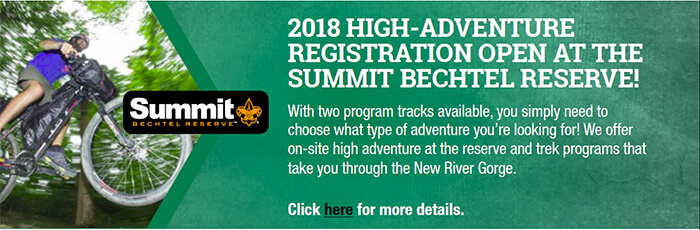 2018 High-Adventure Registration Open at the Summit Bechtel Reserve!